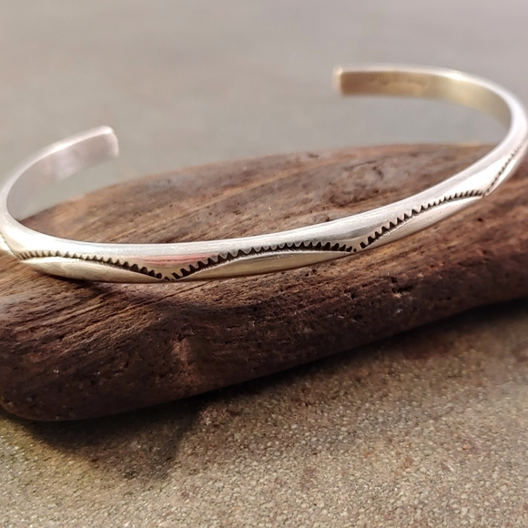 Tahe Sterling Silver Navajo Stamped Cuff